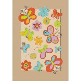 Ručne všívaný koberec (tuftovaný) Bakero Kids Butterfly Beige