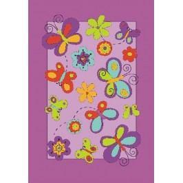 Ručne všívaný koberec (tuftovaný) Bakero Kids Butterfly Lila