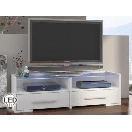 TV stolík/skrinka Semprio (biela + lesk biely)