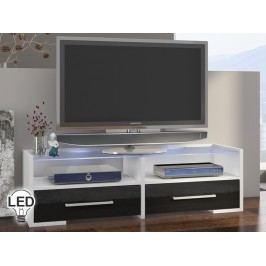 TV stolík/skrinka Semprio (biela + lesk čierny)