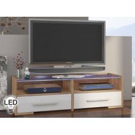 TV stolík/skrinka Semprio (sonoma svetlá + lesk biely)