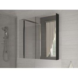 Kúpelňová skrinka na stenu Della 80 čierna + zrkadlo