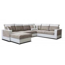 Rohová sedačka U Mega L+2F+A+2 (béžová + biela) (L)