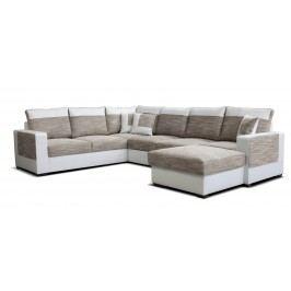 Rohová sedačka U Mega 2+A+2F+L (béžová + biela) (P)