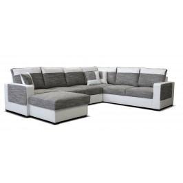 Rohová sedačka U Mega L+2F+A+2 (sivá + biela) (L)