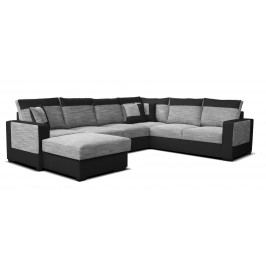 Rohová sedačka U Mega L+2F+A+2 (sivá + čierna) (L)