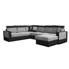 Rohová sedačka U Mega 2+A+2F+L (sivá + čierna) (P)