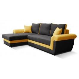 Rohová sedačka Rony L+2F (čierna + žltá) (L)