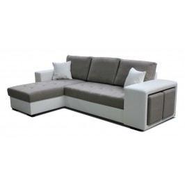 Rohová sedačka Thema Lux L+2F (hnedá + biela) (L)