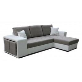 Rohová sedačka Thema Lux 2F+L (hnedá + biela) (P)