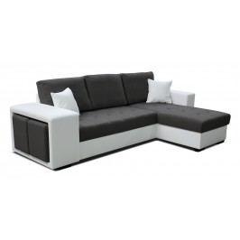 Rohová sedačka Thema Lux 2F+L (tmavosivá + biela) (P)