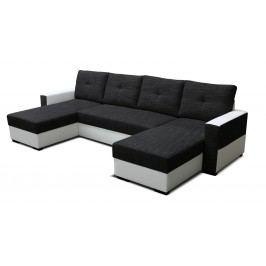 Rohová sedačka U Arenna L+2+L (s taburetkou) (čierna + biela) (P)