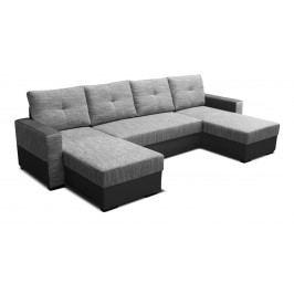 Rohová sedačka U Arenna L+2+L (s taburetkou) (sivá + čierna) (L)