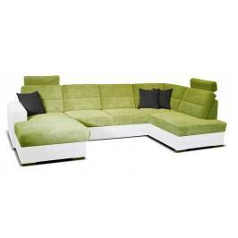 Rohová sedačka U Nelson L+2+LB (zelená + biela) (L)