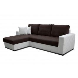 Rohová sedačka Faro L+2F (tmavohnedá + biela) (L)