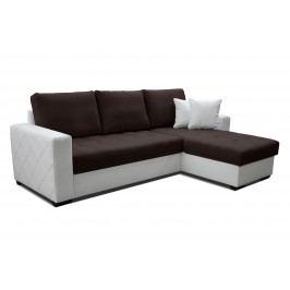 Rohová sedačka Faro 2F+L (tmavohnedá + biela) (P)