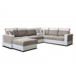 Rohová sedačka U Mega L+2F+A+2 (svetlohnedá + biela) (L)