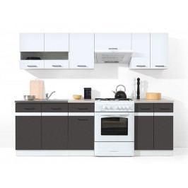 Kuchyňa BRW Junona line 240 cm lesk biely + sivý wolfrám