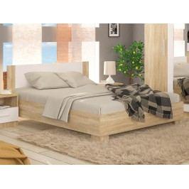 Manželská posteľ 180 cm Markos (dub sonoma + biela) (s roštom)