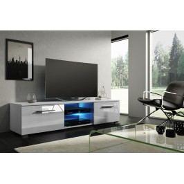 TV stolík/skrinka Moon (biela + lesk biely)