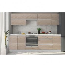 Kuchyňa Line 260 cm biela + dub sonoma