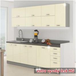 Kuchyňa Prado 260 cm sivá + lesk vysoký krémový