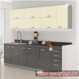 Kuchyňa Prado 260 cm sivá + lesk vysoký sivý/krémový