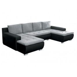 Rohová sedačka U Tico čierna + sivá (L)