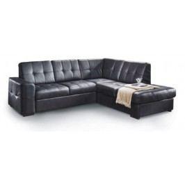 Kožená rohová sedačka Trek (čierna) (P)