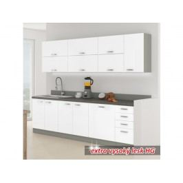 Kuchyňa Prado 260 cm (sivá + extra vysoký lesk biely)