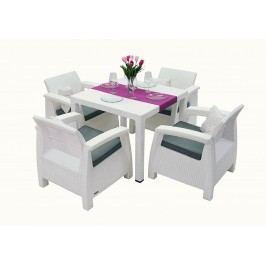 Záhradný nábytok Corfu Mini 1+4 (biela) (um. Ratan) *vankúše ZADARMO