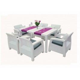 Záhradný nábytok Corfu Lounge set II. 1+6 (biela) (um. Ratan) *vankúše ZADARMO