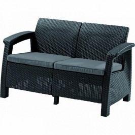 Záhradná lavička Corfu Love Seat (antracit) (um. Ratan)
