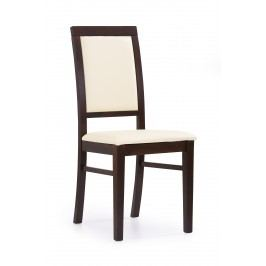 Jedálenská stolička Sylwek 1 (orech tmavý + krémová)