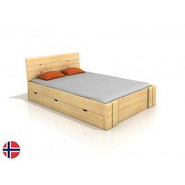 Manželská posteľ 160 cm Naturlig Tosen High Drawers (borovica) (s roštom)