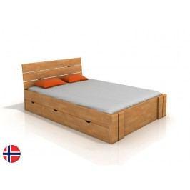 Manželská posteľ 160 cm Naturlig Tosen High Drawers (buk) (s roštom)