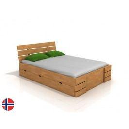 Manželská posteľ 180 cm Naturlig Lorenskog High Drawers (buk) (s roštom)
