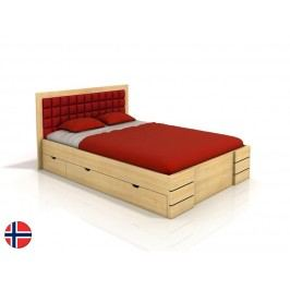Manželská posteľ 180 cm Naturlig Storhamar High Drawers (borovica) (s roštom)