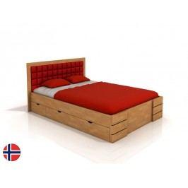 Manželská posteľ 200 cm Naturlig Storhamar High Drawers (buk) (s roštom)