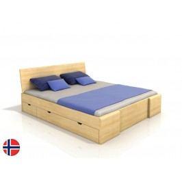 Manželská posteľ 160 cm Naturlig Blomst High Drawers (borovica) (s roštom)