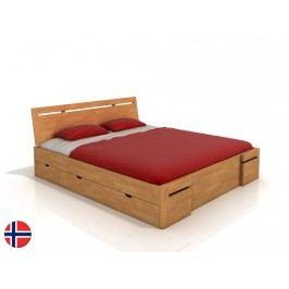 Manželská posteľ 160 cm Naturlig Bokeskogen High Drawers (buk) (s roštom)