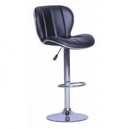 Barová stolička Duena (ekokoža čierna + chróm)