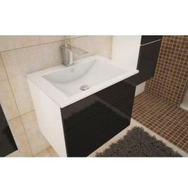 Kúpeľňová skrinka pod umyvadlo Mason (biela + čierny extra vysoký lesk)