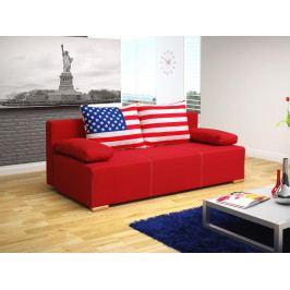 Pohovka trojsedačka Antero (červená + vlajka USA)