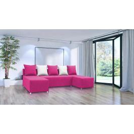 Rohová sedačka U Briston U (ružová + vankúše)