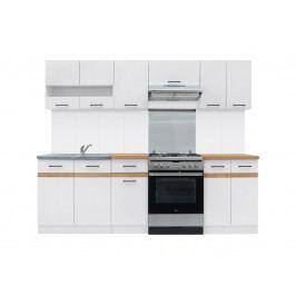 Kuchyňa BRW Junona line 240 cm lesk biely + dub craft zlatý
