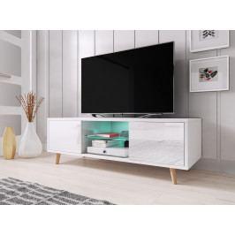 TV stolík/skrinka Sweden 1 (biely lesk + biela matná)
