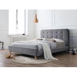 Manželská posteľ 160 cm Tiffany Velvet (sivá) (s roštom)