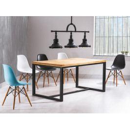 Jedálenský stôl Loras A (masív) (dub + čierna) (pre 4 osoby)