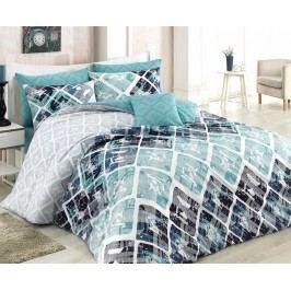 Obliečky Riviera modro-zelené jednolôžko - štandard, prikrývka: 1ks 140x200 cm, vankúš: 1ks 90x70 cm, gramáž: 120 g/m2 bavlna